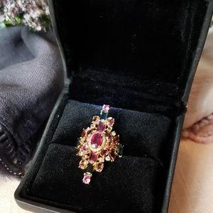 J/Hadley 18k Ruby Diamond Gemstone Cocktail Ring